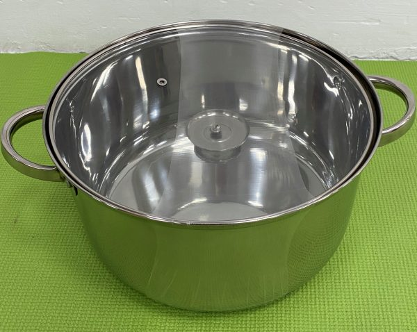 Stainless Steel Pot with Glass Lid.