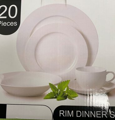 20 Piece Rim Dinner Set in White