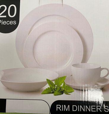 20 Piece Rim Dinner Set in White